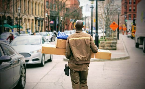 delivery man providing courier service.